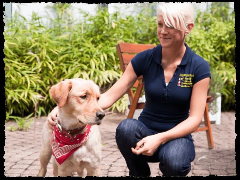 Pflegehund des Seniorenwohnparks Nordlicht mit Pflegerin.